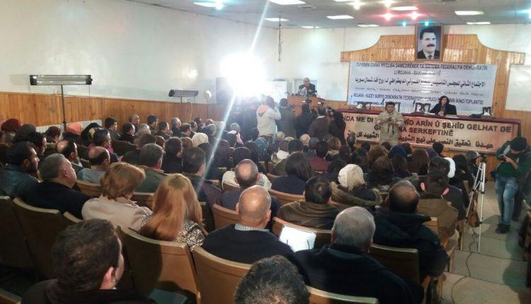 جانب من الاجتماع الثاني للمجلس التأسيسي للنظام الاتحادي الديمقراطي لروج آفا- شمال سوريا