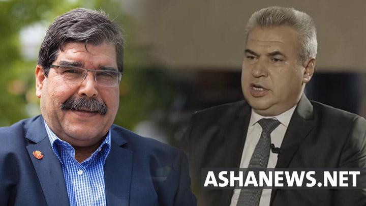 إبراهيم برو رئيس المجلس الوطني الكردي وصالح مسلم الرئيس المشترك لحزب الاتحاد الديمقراطي