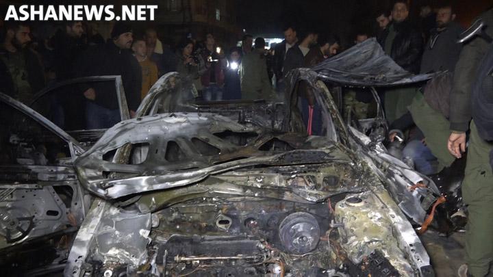 السيارة التي تم استهدافها بعبوة ناسفة