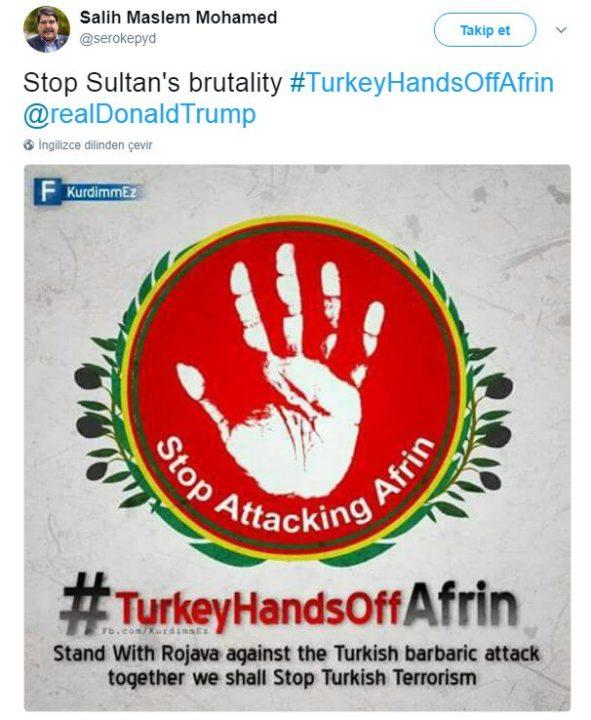 """صالح مسلم: قِفوا مع روجافا ضد الهجوم البربري التركي، معنا سنوقف الإرهاب التركي""""."""
