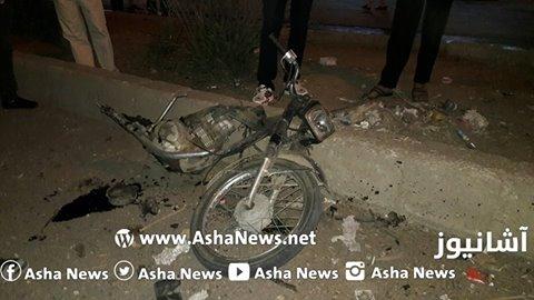 الدراجة النارية التي تم تفجيرها في مدينة  قامشلو