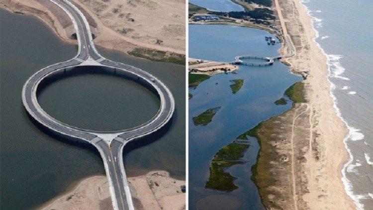 تعمد المهندسون بناء الجسر على شكل حلقة دائرية على الرغم من أن تشييده بشكل مستقيم كما جرت العادة أقل تكلفة