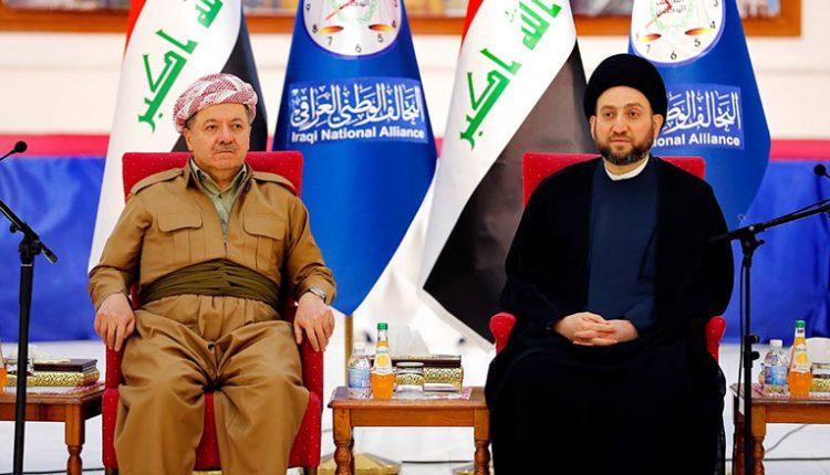 زعيم تيار الحكمة الوطني الشيعي عمار الحكيم ومسعود البرزاني رئيس اقليم كردستان العراق