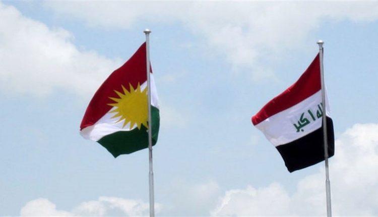علم إقليم كردستان وعلم العراق