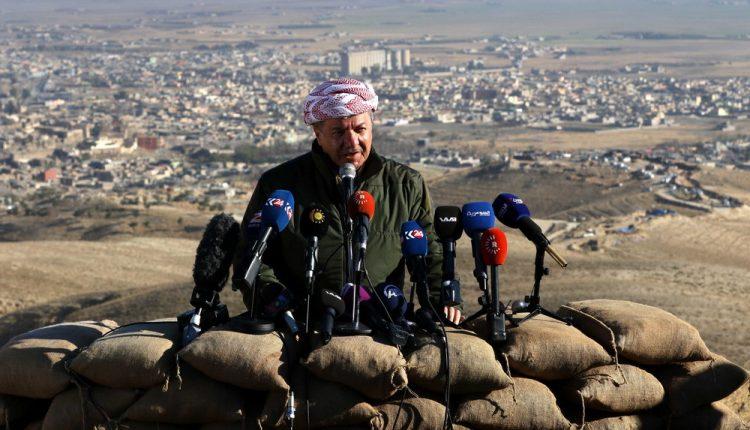 مسعود البارزاني اثناء إعلان تحرير شنكال 13/11/2015