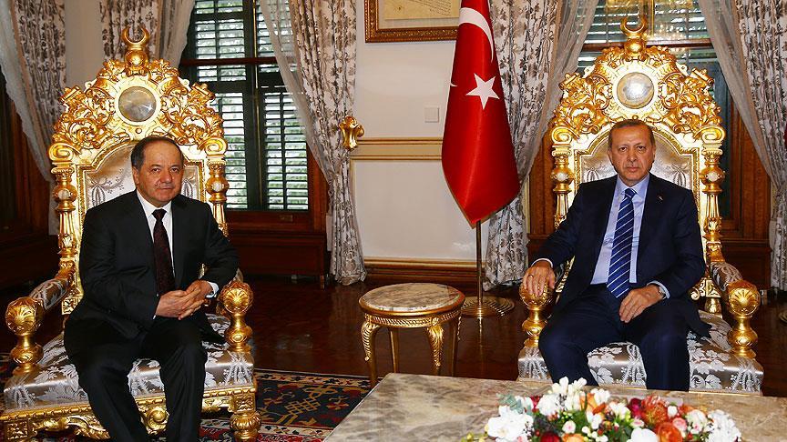 أردوغان وبارزاني يبحثان آخر التطورات في المنطقة