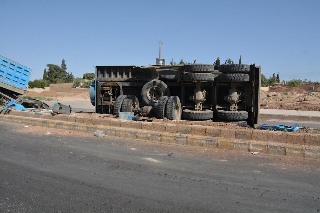حادث سير بريف قامشلو يسفر عن أضرار مادية
