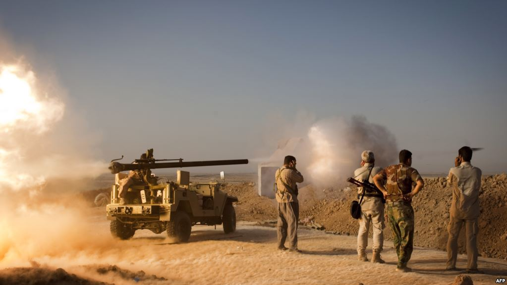 البيشمركة تصد هجوما للحشد وتجبره على التراجع في محور مخمور